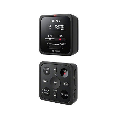 Sony ICD-TX800 Registratore Digitale Stereo con Clip, Telecomando/App per Gestione a Distanza, Riduzione Rumori Sottofondo, Memoria 16 GB, Batteria fino a 15 Ore, Nero