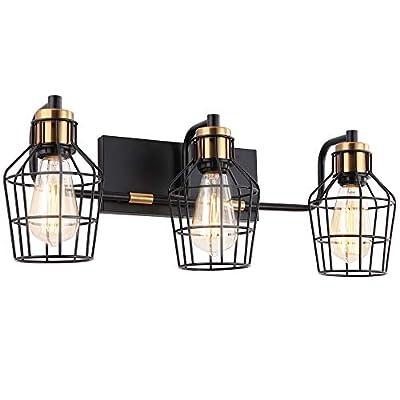3-Light Industrial Rustic Bathroom Vanity Light, Vintage Wall Light Fixture, Metal Wire Cage Wall Sconce, Bathroom Lighting Fixture, Matte Black Finish, Brass Accent Socket