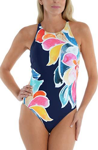 라 블랑카 여자 표준 하이넥 크로스 1피스 수영복