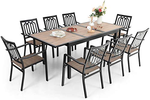 Sophia & William Outdoor 9 Pieces Dining Set with 8 Metal Chairs of Textilene Seat and 1 Expandable Rectangle Table with Wood-Like Top and Umbrella Hole, Modern Patio Furniture for Porch, Backyard