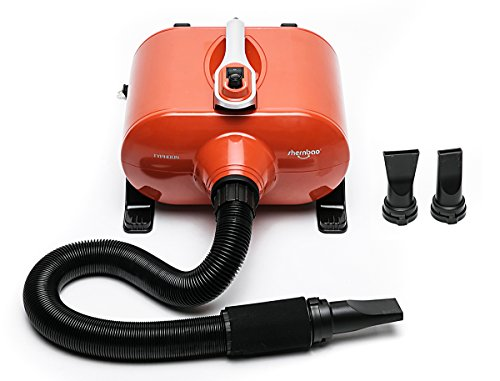 shernbao Dog Dryer High Velocity Professional Dog Pet Grooming Hair Drying Force Dryer Blower 6.0HP (DHD-2400F); (6.0HP, Orange)