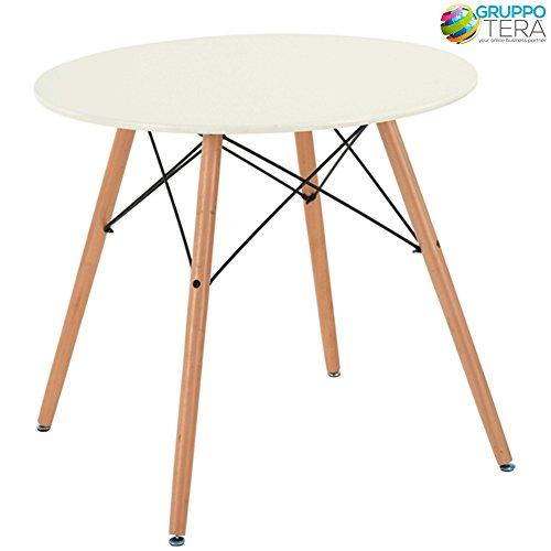 BAKAJI tuintafel Modern Tondo Design Retro diameter 80 cm rond met poten van beukenhout, top plank wit