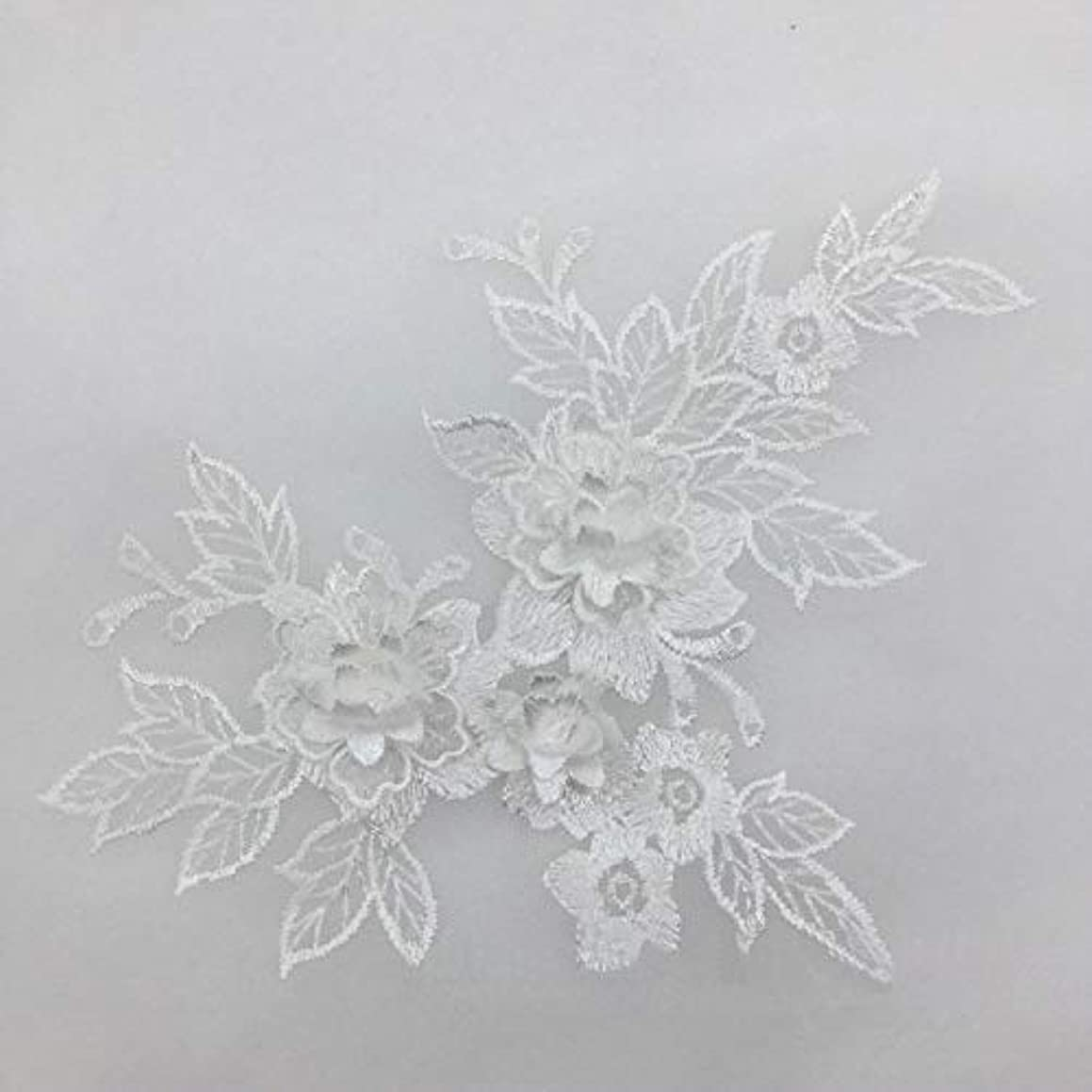 2 Pcs Colored 3D Flower Lace Applique Embroidered Material Trim for DIY Wedding Dress Veil Accessories (White)