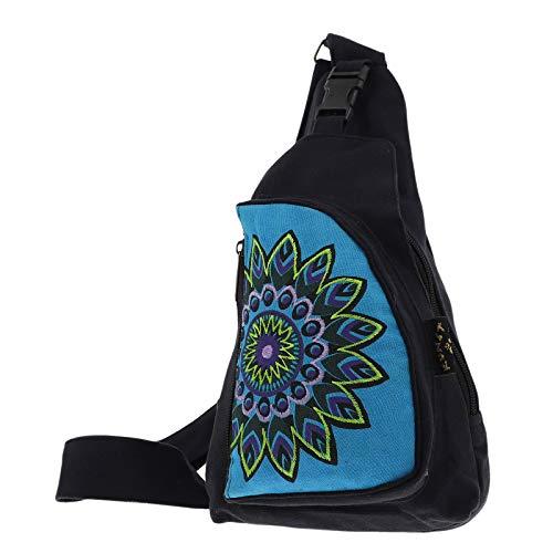 KUNST UND MAGIE Hippie Goa Bodybag Schultertasche, Größe:S, Farbe:Schwarz/Türkis
