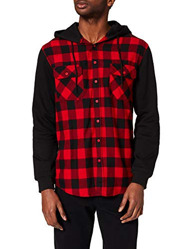 Urban Classics Hooded Checked Flanell Sweat Sleeve Shirt Camicia, Mehrfarbig (Blk/Red/bl 283), Large Uomo
