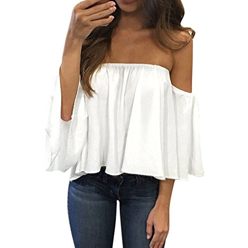 Ularma Damen Schulterfrei Trägerlos Chiffon Locker Langarm T-Shirt Top (S, Weiß)