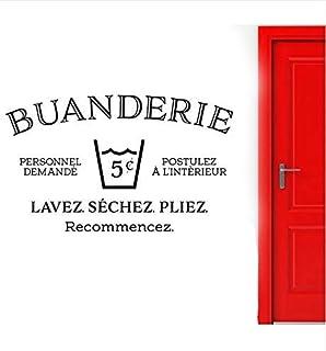 Sticker Mural Français Pour Buanderie Buanderie Décoration Lavage Lavage Pli Sec Répéter Signe Porte Sticker Mural Amovibl...