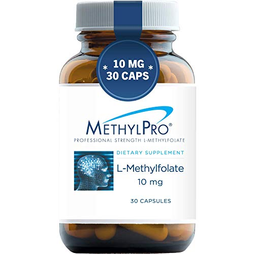 MethylPro 10mg L-Methylfolate (30 Capsules) - Professional Strength Active Methyl Folate, 10000 mcg 5-MTHF Supplement for Mood, Homocysteine Methylation Support, Non-GMO + Gluten-Free with No Fillers