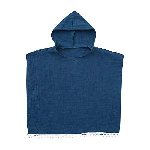Julhold - Abrigo para bebé, niña, informal, cómodo, de manga corta, con capucha, de algodón, suelto, para 1 – 4 años marine 18-24 Meses