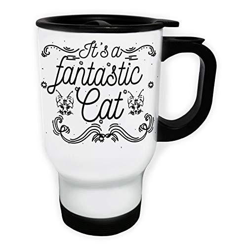 Fantastic Cat Tasse de voyage thermique blanche 14oz 400ml gg341tw