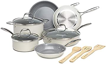 Goodful 12 Piece Cookware Set with Titanium-Reinforced Premium Non-Stick Coating, Dishwasher Safe Pots and Pans, Tempered Glass Steam Vented Lids, Stainless Steel Handles, Cream
