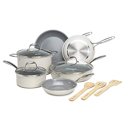 Goodful Ceramic Cookware Set with Titanium-Reinforced Non-Stick Coating, Dishwasher Safe, Tempered...