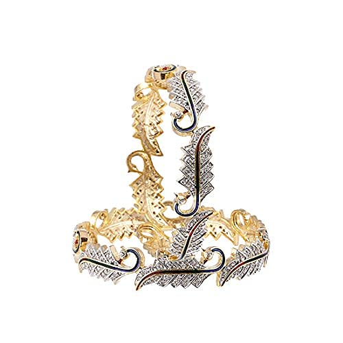 SataanReaper Presents Bangle Gold and Rodium Plated American Diamond Studded Excellent Leafy Style Kada Pack of 2 Bangle Jewellery For Women and Girl (2.8) #SR-5265