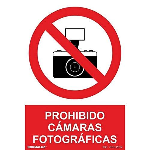 """SEÑAL PROHIBIDO """"PROHIBIDO CAMARAS FOTOGRAFICAS"""" (PVC 0.7MM) 30X40CM marca NORMALUZ"""