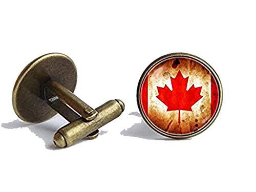 Bloody devil Patriotische Manschettenknöpfe mit kanadischer Flagge, Geschenkidee für Reisende