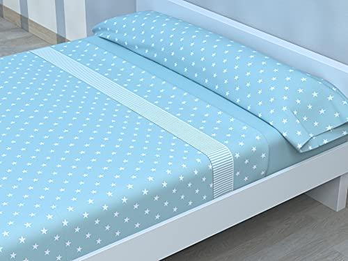 Juego de sábanas Estampadas de Microfibra Transpirable Mod. XINE (Disponible en Varios tamaños y Colores) (Aguamarina, Cama de 90 cm (90_x_190/200 cm))