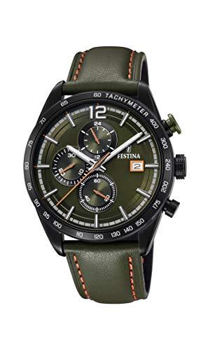 Festina Herren Chronograph Quarz Uhr mit Leder Armband F20344/6