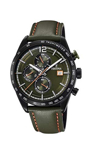 Festina heren chronograaf kwarts horloge met lederen armband F20344/6