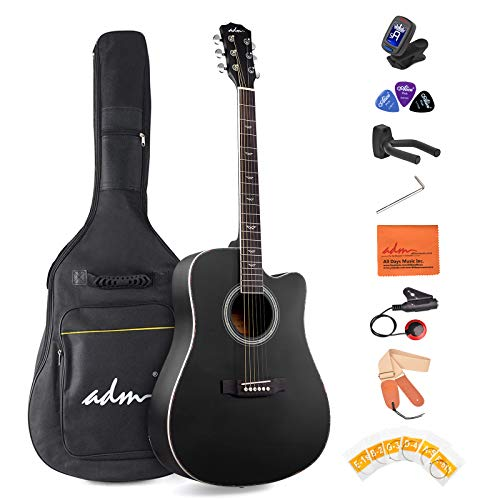 ADM Beginner Acoustic Guitar, 41 Inch Kids Students Cutaway Guitar Bundle Free Lessons with Gig Bag, Tuner, Strap, Picks, Extra Strings, Black