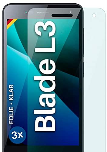 moex Klare Schutzfolie kompatibel mit ZTE Blade L3 - Bildschirmfolie kristallklar, HD Bildschirmschutz, dünne Kratzfeste Folie, 3X Stück