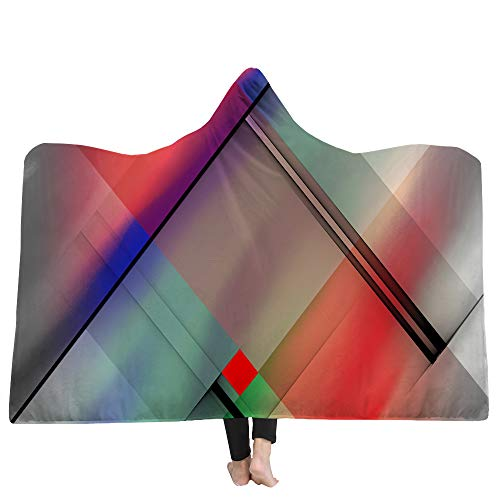 SKLLA Kapudige Decken Kinderdecke Doppel-Plüsch 3D Digital Print Geometrische Muster,3,150cm*200cm