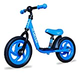 Lets Go 12 Inch Balance Bike with Foot Rest for 2-5 Years Old - Steel Balance to Pedal Bike with Platform and Mud Guard - Adjustable Seat and Handlebars - Puncture-Free Tire (Blue)