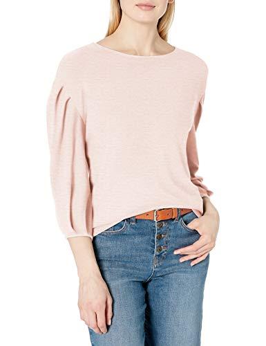 Daily Ritual Cozy Knit Bateau Pleat-Sleeve Top Shirts, Light Peach Marl, US L (EU L - XL)