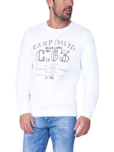 Camp David Herren Sweater mit Logo Print und Stickereien, Opticwhite, 3XL