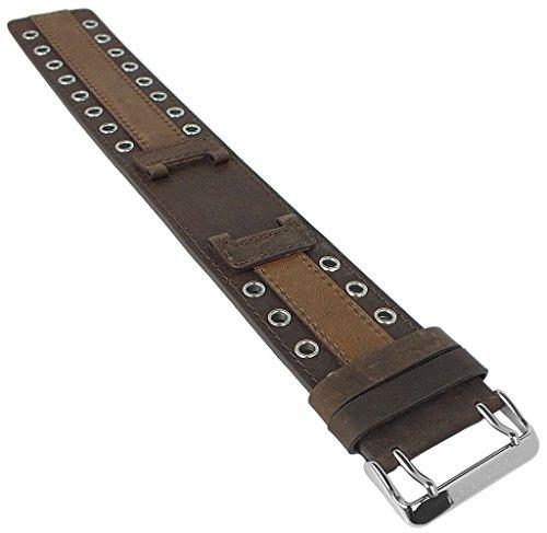 Bruno Banani Linos | Ersatzband Uhrenarmband Leder Band braun für Linos Herrenuhr BR20940