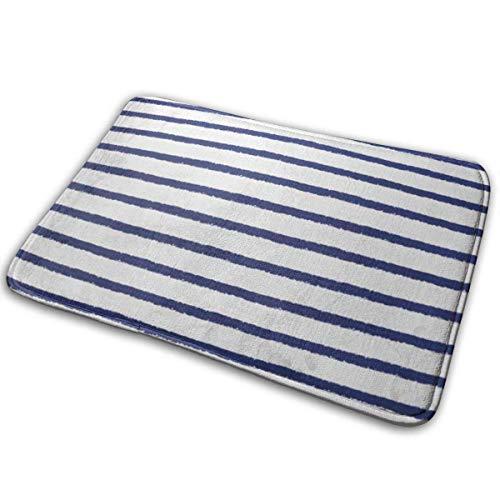 Lemotop deurmat keuken tapijt, aquarel patroon borstel getrokken zeeman strepen ruw randen marineblauw en wit gestreept vest Pinstripe