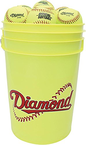 Diamond 6-Gallon Ball Bucket with 18 12YOS Softballs, Yellow