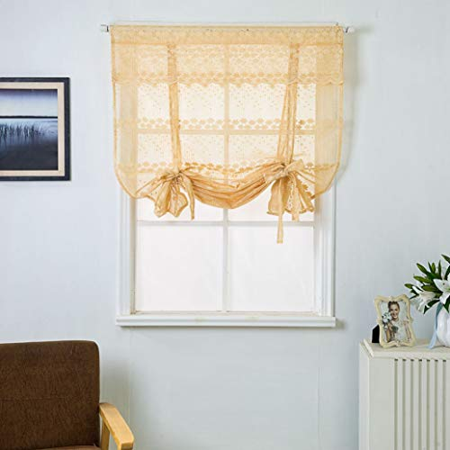 BERTERI Lace Flower Embroidered Semi Sheer Tie Up Roman Curtain for Living Room Bedroom Balloon Shade Curtain for Window