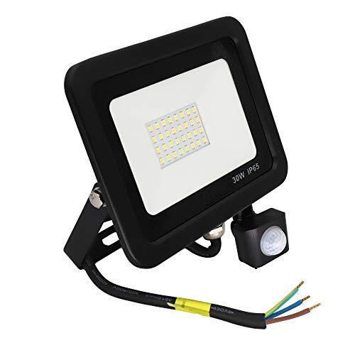 POPP® Foco LED 30W Exterior con Sensor Movimiento PIR, 5000 lumen, Foco negro LED Sensor IP65 Impermeable, Blanco Frío, Ángulo de haz 120°, Foco LED Detector para Jardín, Garaje, Hotel, Patio, etc.