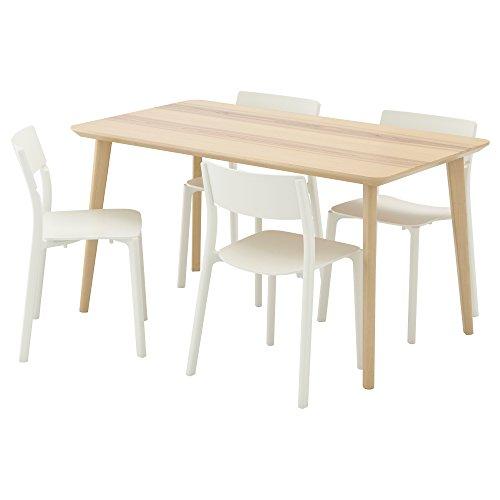ZigZag Trading Ltd IKEA LISABO/JANINGE – Tisch mit 4 Stühlen, Eschenholzfurnier/weiß
