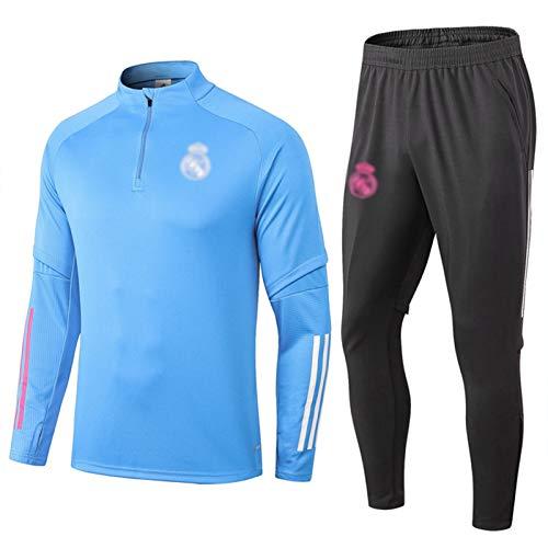 BVNGH 2021 New Season Réál Mádrid - Traje de entrenamiento de camiseta de fútbol (manga larga, color azul, tejido de swingman, transpirable y de secado rápido)