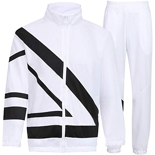 MACHLAB Men's Tracksuit 2 Piece Jacket & Pants Warm Jogging Athletic Suit Casual Full Zip Sweatsuit Gym Activewear White L#099