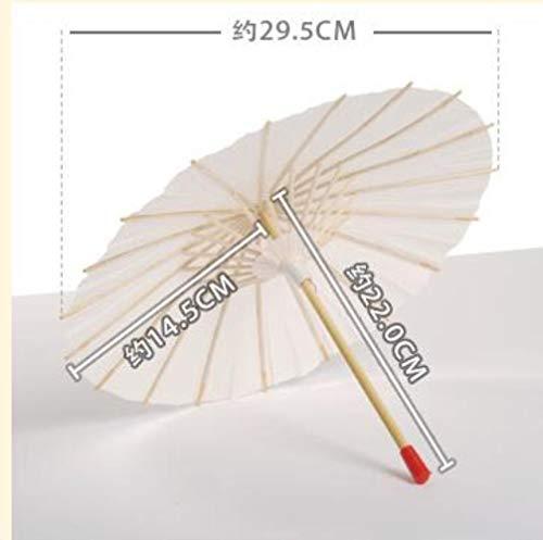 Piner Europese Witte Kant Paraplu DIY Productie Zon Parasol Bruid Paraplu Met 8 Ribben Houten Handvat Bruiloft Decoraties, 22cm