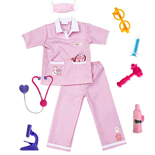 Kids Animal Doctor Role Play Costume Veterinarian Pretend Play Dress...