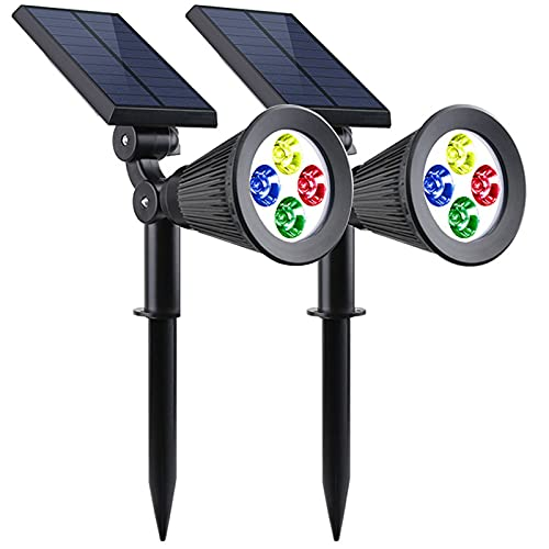 LED Spot Solaire Extérieur, Lampe Solaire Etanche IP65, Projecteur Solaire avec 2 Modes d'Éclairage pour Jardin, Cour, Allée, Chemin, Trottoir, Terrasse, 2 Pack