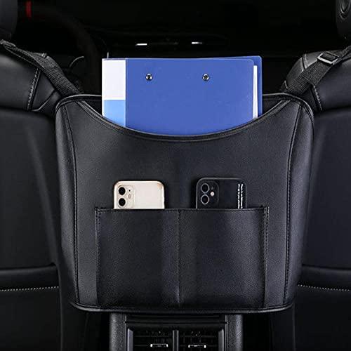 CARMAE Organizador para bolso de coche, organizador de asiento trasero, de cuero, organizador de almacenamiento de asiento de coche, barrera de coche, bolsillo para monedero, artículo más pequeño