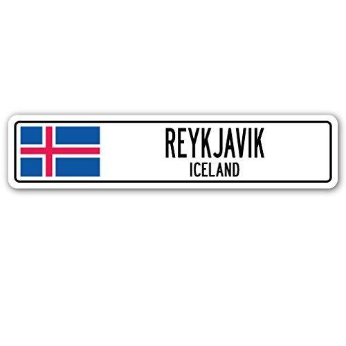 """Deko-Schilder mit der Aufschrift """"Reykjavik, Iceland"""" & der isländischen Flagge; isländisches Straßenschild aus Aluminium, ein tolles Geschenk zum Aufhängen an der Wand"""