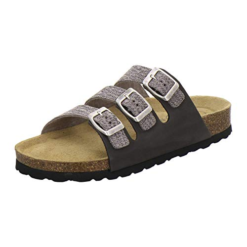 AFS-Schuhe 2133, sportliche Damen Pantoletten aus Leder, praktische Arbeitsschuhe, Bequeme Hausschuhe, Made in Germany (40 EU, Grau/Stone)
