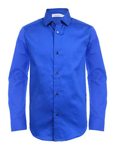 Calvin Klein Boys' Little Long Sleeve Sateen Dress Shirt, Dark Blue, 05