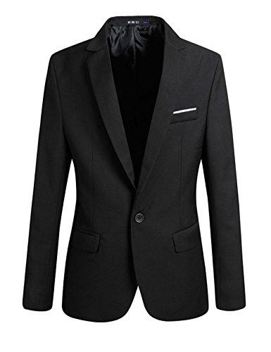 Letuwj Blazer masculino de um botão slim fit terno executivo, Preto, Aisa XXXXL(US XXXL)