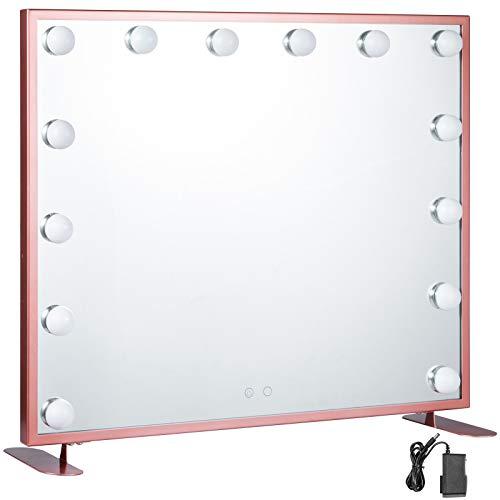 VEVOR Vanity Led Schminkspiegel 600 * 500mm kosmetikspiegel Beleuchtet mit 14 Stück Dimmbaren LED-Lampen Schminkspiegel für Tisch Kosmetik(Roségold)
