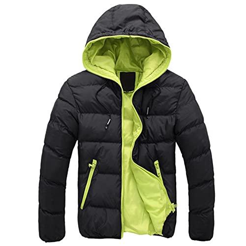 Piumino invernale da uomo, con cappuccio, spesso, invernale, caldo, per le mezze stagioni, con chiusura lampo, giacca invernale sportiva, giacca leggera con cappuccio, Nero , L
