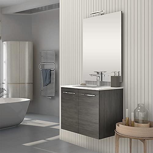 Mobile bagno sospeso 70 cm, linea Zenit, 2 ante chiusura soft, completo di lavabo e specchio (Rovere Scuro)