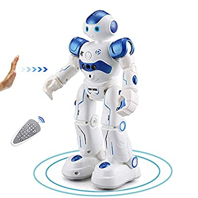 YuanBo RC Smart Robot Toy for Kids,Programmable Remote Control Robot Gesture Sensing Interactive Robots Walking Rechargeable Singing and Dancing Robot Toys for Boys Kids (Blue)