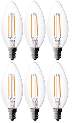 Bioluz LED 40W Filament Candelabra Bulb, E12 Base High Efficiency LED Candle Bulbs, UL Listed, Pack of 6