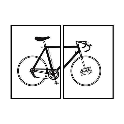 N / A Bicicleta Blanco Negro Imagen Pared niños Lienzo